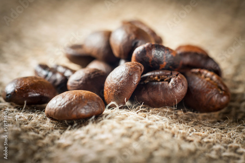 Coffee on grunge burlap background