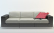 Isolated Sofa - Black and White with red cushion