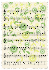 vector vintage note paper with green passiflora flowers