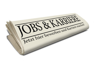 Zeitungsrolle mit Jobs und Karriere