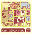 vector farm animals set