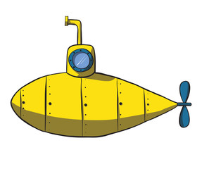 Cartoon yellow submarine. Vector hand drawn illustration