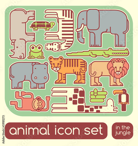 vector jungle animals set