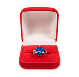 ring with sapphire crystal in red box