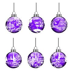 Weihnachten Kugeln Set Ornamente Vektor
