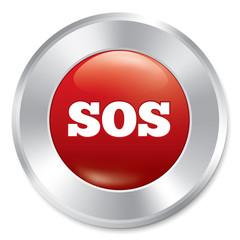 Sos button. Metallic icon on white background.