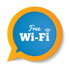 Wifi speech bubble. Free wifi symbol. Wifi zone.