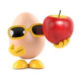 Egg holds a tasty apple