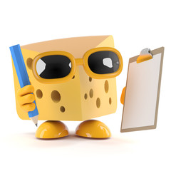 Cheese with a clipboard