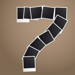 Number seven of Polaroid photos. Vector illustration.