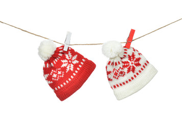 Red hats christmas patchwork ornament clipped on the rope