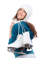 Young woman with ice skates for winter ice skating sport