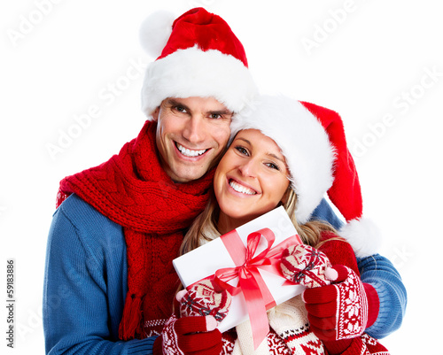 Happy couple with christmas present.