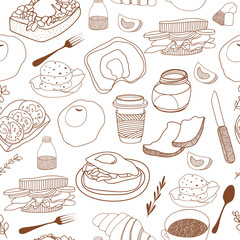 Breakfast seamless background