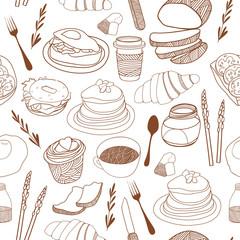 Breakfast seamless background