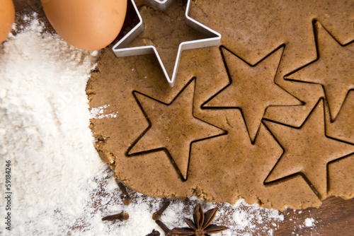 Preparing gingerbread cookies for christmas