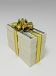 Bundle of dollars in the golden ribbon as a gift