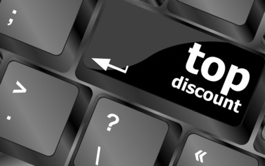 top discount concept sign on computer key
