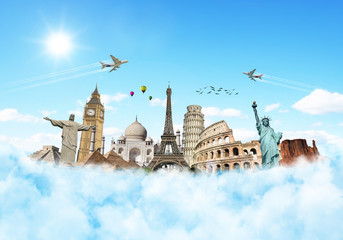 Travel the world monuments clouds concept