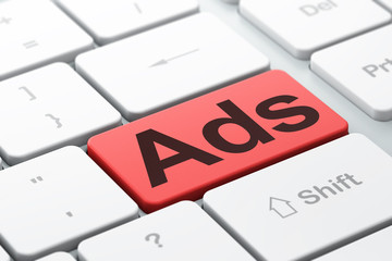 Advertising concept: Ads on computer keyboard background