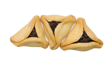 Cookies for a holiday purim on a white background