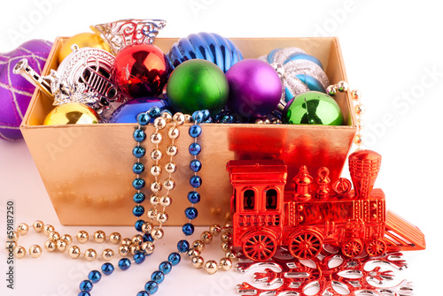 Christmas background with basket full of color balls