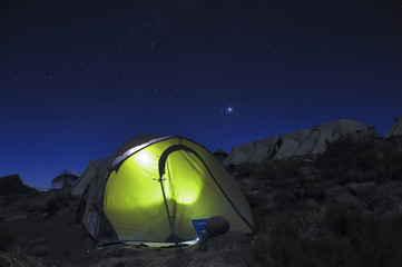 Horombo campsite under the stars Kilimanjaro