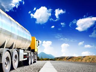 big trucks on the asphalt road