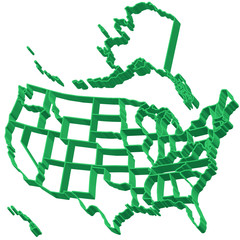 Extruded map of USA