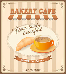 banner for bakery cafe with cup of cappuccino and croissant
