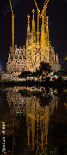 Sagrada Familia cathedral, vertical panorama. Barcelona, Spain