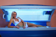 woman sunbathing in the solarium