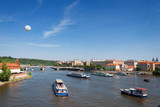Boats on the river Vltava. Prague
