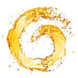Fototapety round orange water splash isolated on white