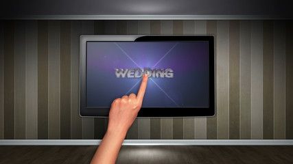 Wedding Text in Monitor, Open with Click Hand