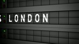 Old airport billboard with city name London