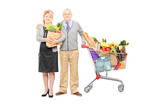 Man and woman holding a bag and shopping cart full of groceries