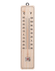 Classic wooden thermometer. On a white background.