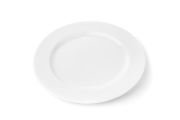 White porcelain plate for food. On a white background.