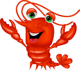 Cute lobster cartoon presenting