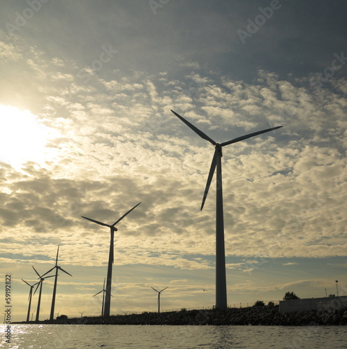 wind turbines power generator farm in sea