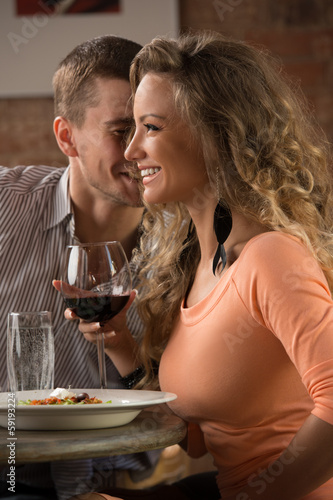 Young happy couple on romantic date