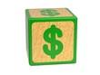 Dollar Sign - Childrens Alphabet Block.