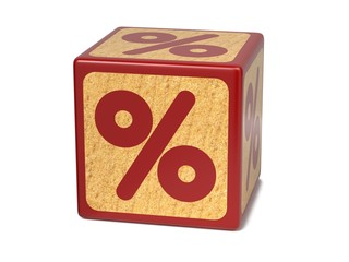 Percent Sign - Childrens Alphabet Block.