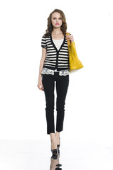 Full length casual young fashion holding bag walking