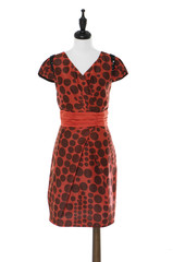 Women evening dress on a dummy isolated