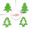 Set of Modern Christmas Tree Background