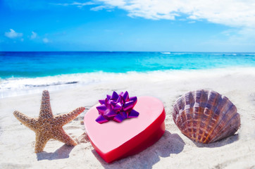 Starfish and seashell with heart by the ocean