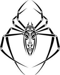 vector spider tattoo for back on white background