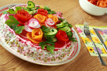 Lettuce is decorated by flowers